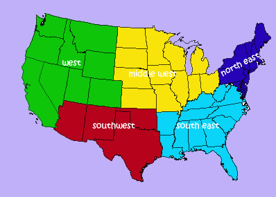 United States Regions THIRD GRADE LEARNING RESOURCES - 5 us regions map