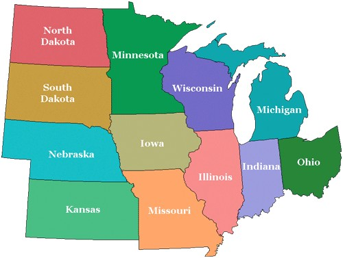 Midwest Th Grade US Regions UWSSLEC LibGuides At University - Us map midwest states